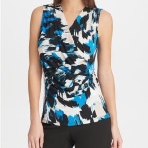 DKNY Draped Printed Top in Lagoon Multi. Size M